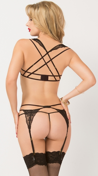 Strappy Lace Bra and Garter Set