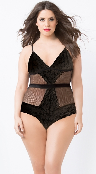 Plus Size Floral Lace And Fishnet Teddy, Plus Size Black Lace and Net Teddy, Plus Size Fishnet Halter Teddy