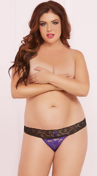 Plus Size All Over Lace Thong