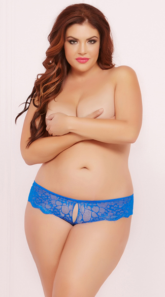 Plus Size Lace Cheeky Panty with Keyhole Openings, Plus Size Lace Bikini Panty, Plus Size Lace Open Panty