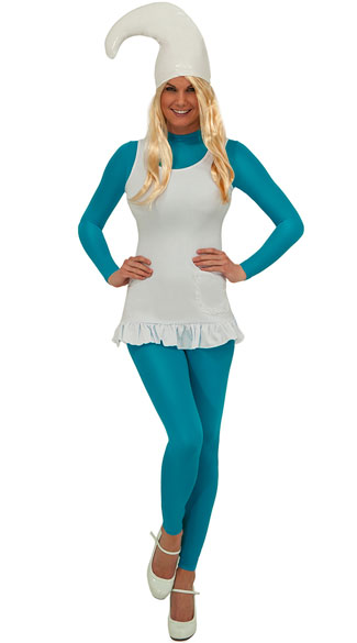 Blue Babe Costume, Adult Costume, Sexy Womens Blue Gnome Halloween Costume