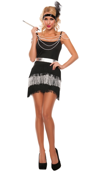 Midnight Party Flapper Costume, Sexy Flapper Costume, Sexy 20s Costume