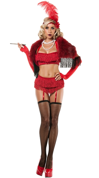 Ruby Flapper Costume, 20s Flapper Costume, Sexy Flapper Halloween Costume