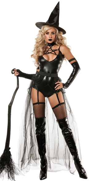 Miss Witchcraft Costume, Sexy Witch Costume, Adult Witch Halloween Costume