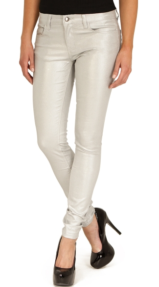 Silver Shimmer Skinny Jeans, Silver Jeans, Silver Pants