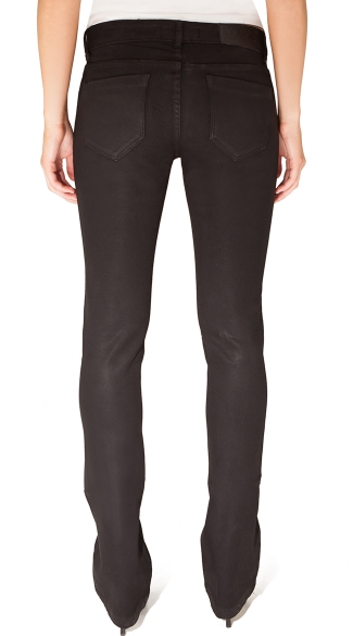 Black Wax Coated Mini Boot Cut Jeans