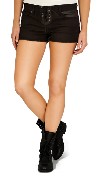 Black Lace Up Shorts with Faux Leather Detail