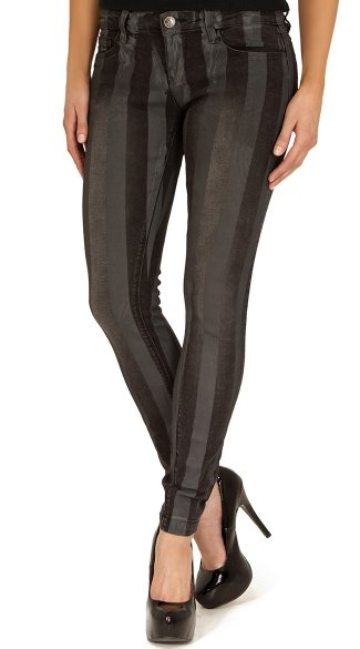 Black Stripe Print Stretch Skinny Jeans, Black Striped Jeans, Black and Gray Jeans