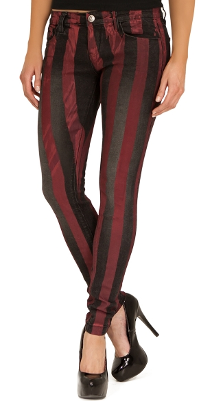 Red Stripe Print Stretch Skinny Jeans, Black and Red Striped Jeans, Striped Pants