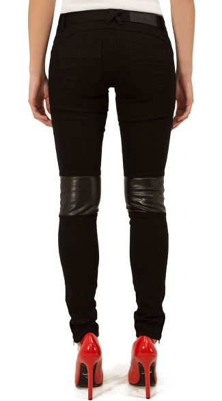Stretch Black Jeans with Faux Leather Patches