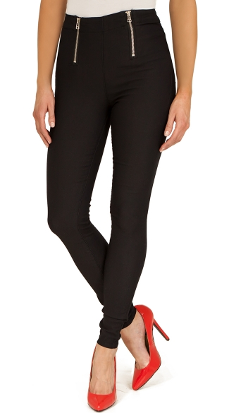 Black Stretch High Waisted Jeans with Exposed Zipper, Black High Waisted Pants
