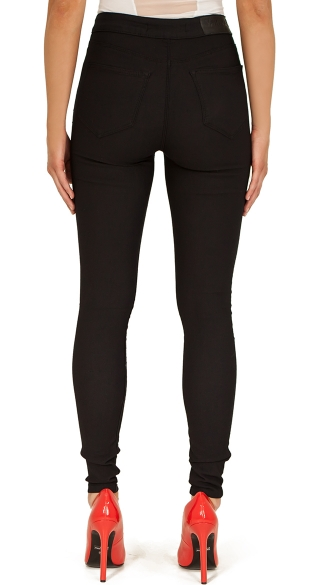 Black Stretch High Waisted Jeans with Exposed Zipper