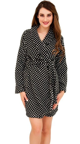 Polka Dot Cutie Plush Robe, Sexy Lounge Robe, Sleepwear Robe