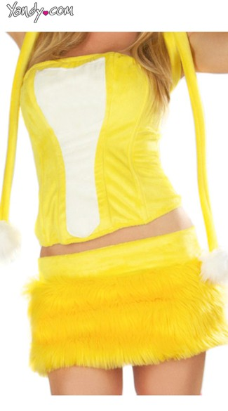 Yellow Rave Bear Corset and Skirt