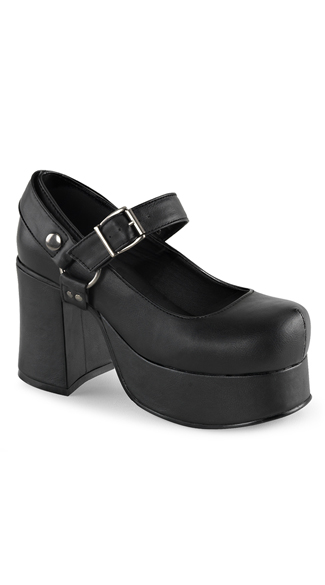 "3 3/4"" Black Leather Mary Jane Shoes"