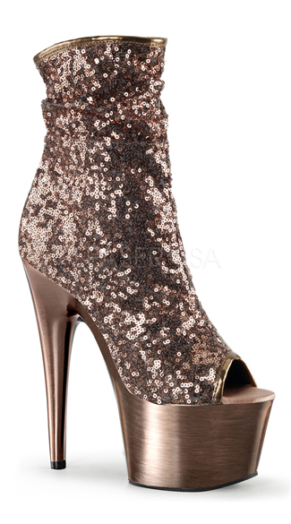 "7"" Sequin Open Toe Ankle Boot"