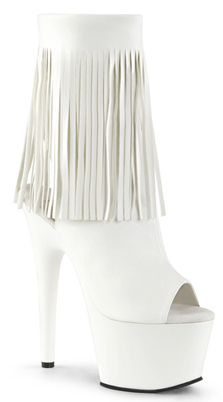 Fringe 7 Inch Peep Toe Ankle Bootie