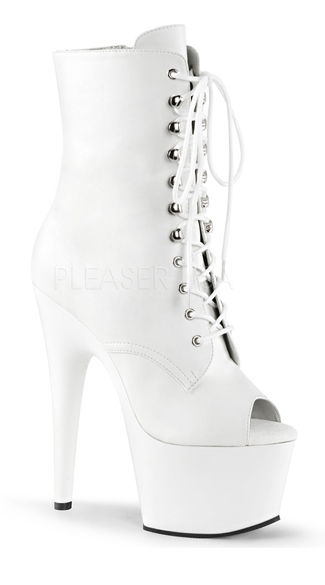7 Inch Heel, 2 3/4 Inch Pf, Peep Toe Lace-up Ankle Boot