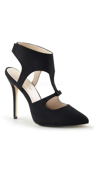 Pointy Open Heel Pump with Ankle Cuff