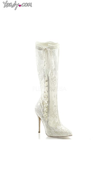 White Lace Knee High Stiletto Boot, White Costume Boots, Womens Shoes
