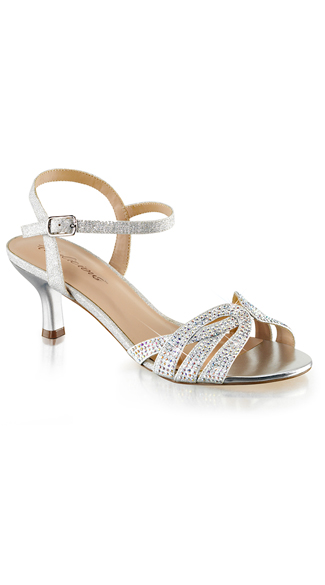 "2 1/2"" Glitter and Rhinestone Kitten Heel"