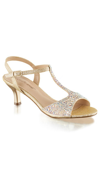 "2 1/2"" Glitter and Rhinestone Kitten Heels with T-Strap"