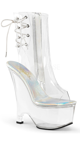 6 1 2 quot clear wedge ankle boots clear ankle boots wedge