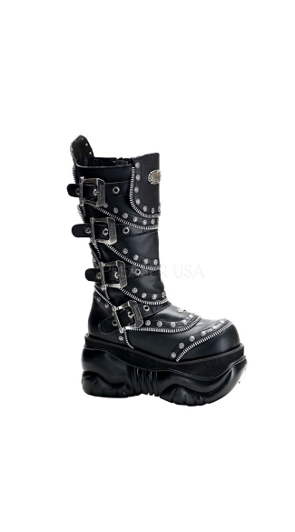 "Mens 4"" Calf Cyber Boots with Inner Side Zipper"
