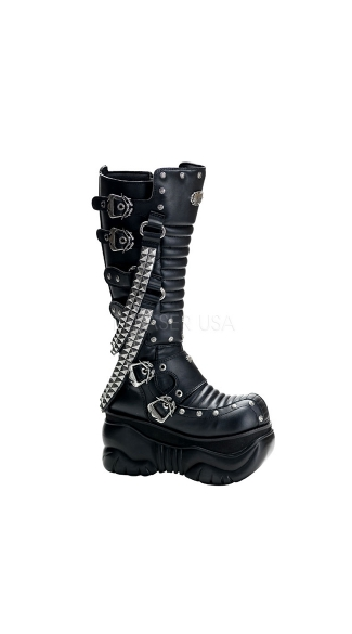 "Mens 4"" Calf Cyber Boots with Studded Chain Accents"