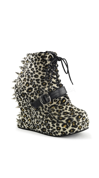 Spiked 5 Inch  Wedge Platform Lace Up Ankle Boot