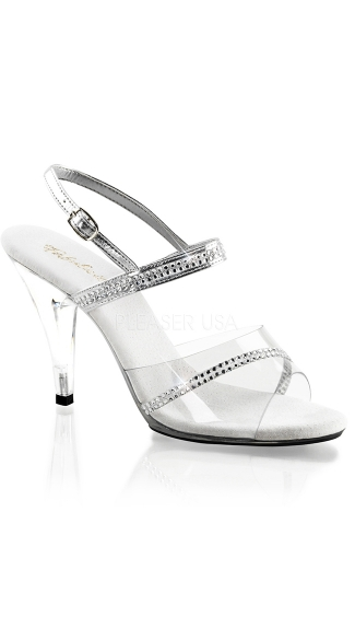 "4"" Heel Rhinestone Studded Sandal with Ankle Strap"