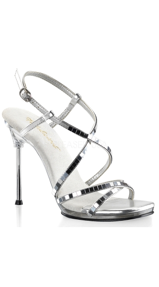 "4 1/2"" Heel Mirrored Criss Cross Ankle Strap Sandal, Sexy Mirrored Ankle Strap Sandal"