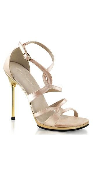 "4 1/2"" Heel Strappy Criss Cross Ankle Sandal"