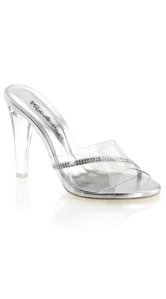 Clear Glass Slipper with Rhinestone Accent, Fashion High Heels, 4 Inch Heels
