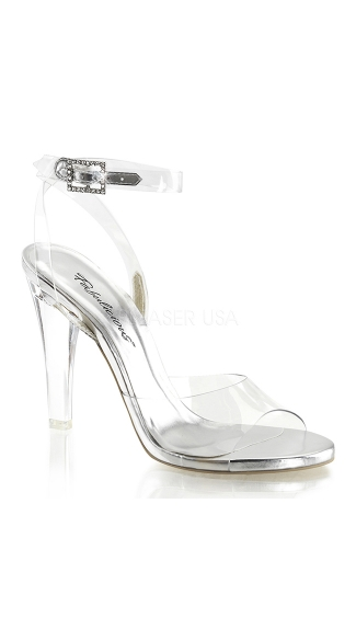 Glass Sandal with Rhinestone Buckle, Clear High Heel Shoes, Cheap Heels Online