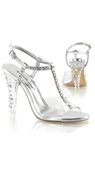 Clear T-Strap Heel with Rhinestone Accents, Silver High Heel Shoes, Strappy Heel Sandals