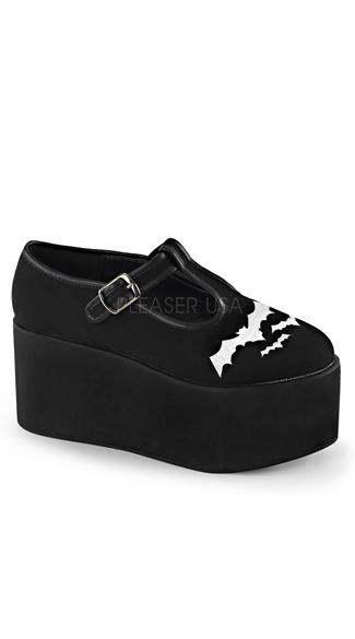 3 1 4 quot black and white bats platform shoe black and white