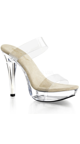 "5"" Heel with Two Clear Band Slides, Sexy Clear Platform Shoe"