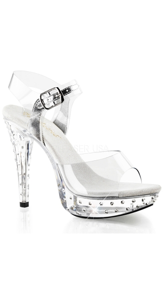 "5"" Clear Heel with Rhinestone Accents and Ankle Strap, Sexy Clear Platform Shoes"