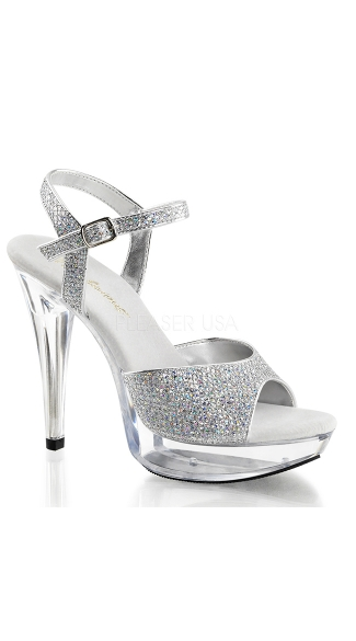 "5"" Clear Heel with Glitter Straps"