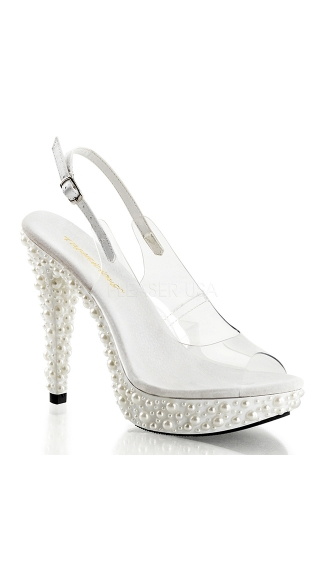 "5"" Slingback Sandal with Pearl Embellished Platform, Ivory Bridal Shoes, High Heel Shoes"