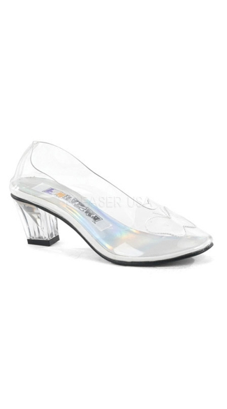 "Crystal Slipper with 2"" Heel, Clear Slipper Pump"