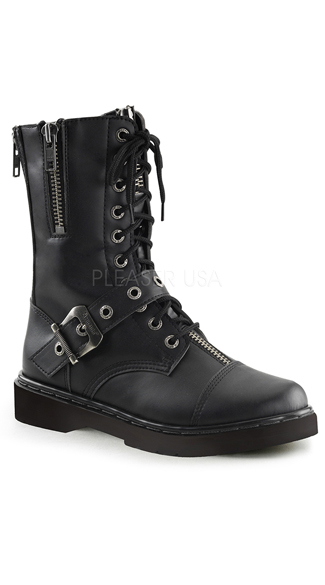 Zipper Combat Boots, Zipper Boots, Leather Combat Boots