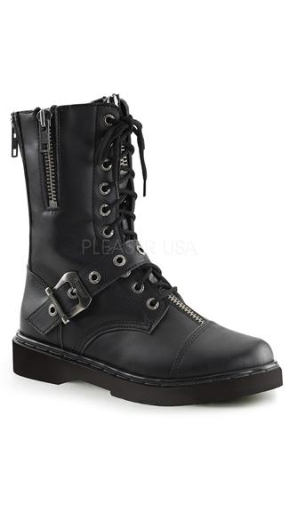 Zipper Combat Boots, Zipper Boots, Leather Combat Boots