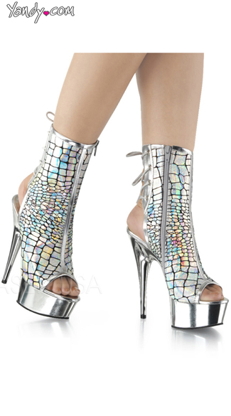 Iridescent Snake Print Ankle Boot