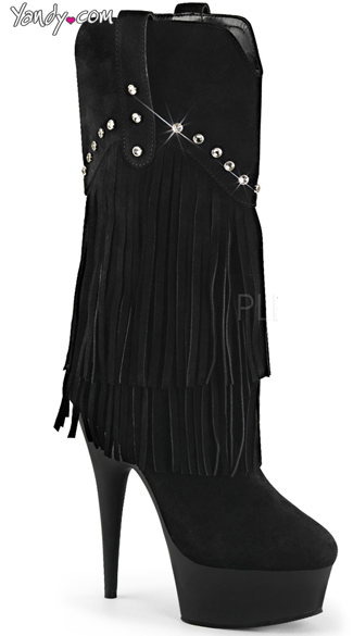 Rhinestone and Fringe Mid-Calf Boot