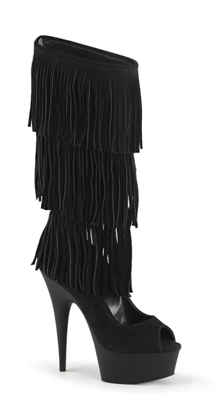 Suede Fringe Mid-Calf Stiletto