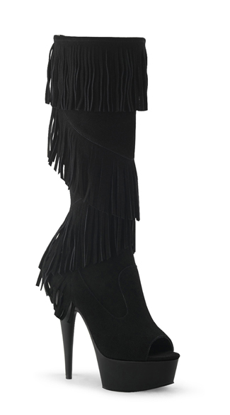 Peep Toe Knee High Fringe Boot
