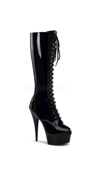 Run the World Lace Up Stiletto Boot, Black 5.75 Inch Heel Stiletto Boot, Sexy Black Knee High Boot