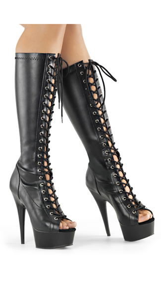 "Knee High Lace Up Boot, Lace Up Stiletto Boots, 6"" Inch Stilettos Boots"